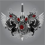 Fantasy design with gryphon and roses on black background Stock Photo - Royalty-Free, Artist: Flamewave                     , Code: 400-04901887