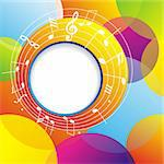 Music background with notes and color circles.