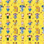 Cartoon animal worker  seamless pattern Stock Photo - Royalty-Free, Artist: notkoo2008                    , Code: 400-04902014