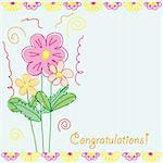 Funny congratulations card with flowers, vector illustration Stock Photo - Royalty-Free, Artist: MarketOlya                    , Code: 400-04902441