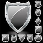 Set of security shields, coat of arms symbol icons, black, vector illustration Stock Photo - Royalty-Free, Artist: MarketOlya                    , Code: 400-04902443