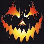 Halloween background. Scary pumpkin vector. Anger smile.