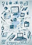 big computer icons isolated on the old paper