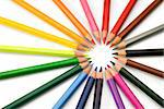 Multicolor pencils forming a color circle isolated on white background Stock Photo - Royalty-Free, Artist: Anterovium                    , Code: 400-04903199