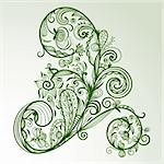 vector abstract hand drawn  floral design element