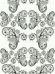 vector seamless floral pattern, monochrome