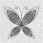 vector hand drawnabstract buttefly on floral background Stock Photo - Royalty-Free, Artist: alexmakarova                  , Code: 400-04903292