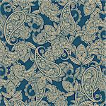 vector seamless paisley background Stock Photo - Royalty-Free, Artist: alexmakarova                  , Code: 400-04903296