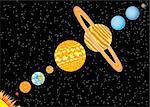 Nine planets and sun standing in line in space. Also available as a Vector in Adobe illustrator EPS 8 format, compressed in a zip file. Stock Photo - Royalty-Free, Artist: Neokryuger                    , Code: 400-04903385