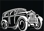 Car. Silhouette of the old car on a black background. Vector art in EPS format. Stock Photo - Royalty-Free, Artist: 25081972                      , Code: 400-04903409