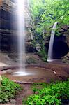 Waterfalls flow into Tonti Canyon on a spring day at Starved Rock State Park. Stock Photo - Royalty-Free, Artist: Wirepec                       , Code: 400-04904293