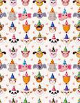 Cartoon Party Animal head seamless pattern Stock Photo - Royalty-Free, Artist: notkoo2008                    , Code: 400-04905365