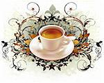 cup of coffee with ornate elements, this illustration may be useful as designer work