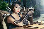 Fashion woman retro portrait in a restaurant Stock Photo - Royalty-Free, Artist: GoodOlga                      , Code: 400-04907277