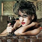 Fashion woman retro portrait in a restaurant Stock Photo - Royalty-Free, Artist: GoodOlga                      , Code: 400-04907281