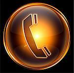 phone icon gold, isolated on black background. Stock Photo - Royalty-Free, Artist: zeffss                        , Code: 400-04907659