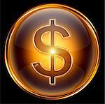 dollar icon gold, isolated on black background. Stock Photo - Royalty-Free, Artist: zeffss                        , Code: 400-04907672