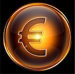 euro icon gold, isolated on black background. Stock Photo - Royalty-Free, Artist: zeffss                        , Code: 400-04907673