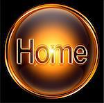 Home icon gold, isolated on black background. Stock Photo - Royalty-Free, Artist: zeffss                        , Code: 400-04907677