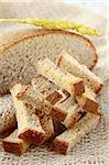 rye bread croutons on linseed bag, rustic style Stock Photo - Royalty-Free, Artist: Dream79                       , Code: 400-04907805