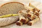 rye bread croutons on linseed bag, rustic style Stock Photo - Royalty-Free, Artist: Dream79                       , Code: 400-04907806