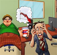 very upset manger and his fat lazy employer Stock Photo - Royalty-Freenull, Code: 400-04907856