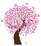 Vector illustration of a cherry tree in blossom with birds