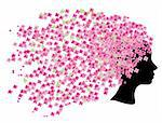 Vector illustration of a head silhouette with cherry flowers