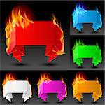 Set of Fire banners. The illustration on white background for the design Stock Photo - Royalty-Free, Artist: dvarg                         , Code: 400-04908531