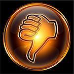thumb down icon golden, isolated on black background. Stock Photo - Royalty-Free, Artist: zeffss                        , Code: 400-04908583