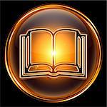 book icon golden, isolated on black background. Stock Photo - Royalty-Free, Artist: zeffss                        , Code: 400-04908629