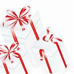 White gift box. 3D image. Vector.