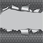 Hexagon metallic background, hole in the metal paper. Vector illustration Stock Photo - Royalty-Free, Artist: svetap                        , Code: 400-04909478