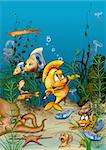 Ocean Life - Cartoon Background Illustration, Bitmap