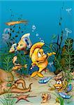 Ocean Life - Cartoon Background Illustration, Bitmap