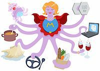 A Vector Illustration of an octopus mother dressed as a superhero and doing actions such as lifting weights, working on a laptop, having drinks, shopping for grocery, driving, cleaning, cooking and taking care of her baby. Stock Photo - Royalty-Freenull, Code: 400-04910135