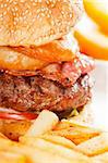 classic american hamburger sandwich with onion rings and french fries, MORE DELICIOUS FOOD ON PORTFOLIO Stock Photo - Royalty-Free, Artist: keko64                        , Code: 400-04911120