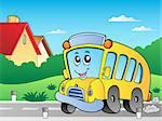 Road with school bus 2 - vector illustration. Stock Photo - Royalty-Free, Artist: clairev                       , Code: 400-04911201