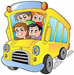 School bus with happy children - vector illustration. Stock Photo - Royalty-Free, Artist: clairev                       , Code: 400-04911204