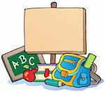 School theme with wooden board - vector illustration. Stock Photo - Royalty-Free, Artist: clairev                       , Code: 400-04911216