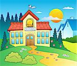 Theme with big school building - vector illustration. Stock Photo - Royalty-Free, Artist: clairev                       , Code: 400-04911218