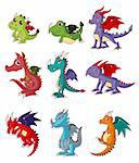 cartoon fire dragon icon set   Stock Photo - Royalty-Free, Artist: notkoo2008                    , Code: 400-04912666