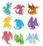 cartoon fire dragon icon set   Stock Photo - Royalty-Free, Artist: notkoo2008                    , Code: 400-04914134