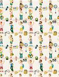 cartoon travel people seamless pattern