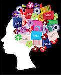 Vector illustration of a head silhouette with shopping icons Stock Photo - Royalty-Free, Artist: lilac                         , Code: 400-04914541