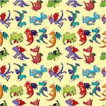 cartoon fire dragon seamless pattern Stock Photo - Royalty-Free, Artist: notkoo2008                    , Code: 400-04914951