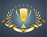 Vector illustration of golden trophy with laurel wreath and ribbon badge to put a text Stock Photo - Royalty-Free, Artist: PixelEmbargo, Code: 400-04914993