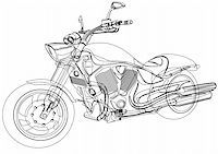 sports scooters - Vector drawing a big motorcycle Stock Photo - Royalty-Freenull, Code: 400-04915720