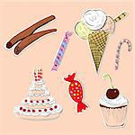 card with sweets Stock Photo - Royalty-Free, Artist: Ateli                         , Code: 400-04915934