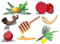 A pack of Vector illustrations of famous Jewish symbols for the Jewish Holidays New Year, Yom Kipur and Sukkot. Stock Photo - Royalty-Freenull, Code: 400-04916814